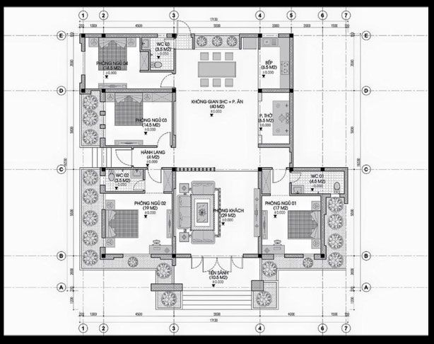 Bản vẽ nhà cấp 4 mái thái 130m2