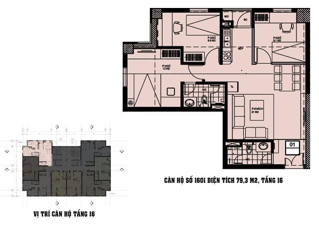 Căn hộ số 1601 diện tích 79,3 M2 tầng 16