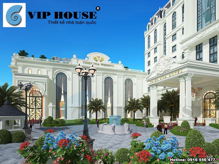 Cảnh quan chung của mẫu thiết kế khách sạn 4 sao với khuôn viên đầy màu sắc