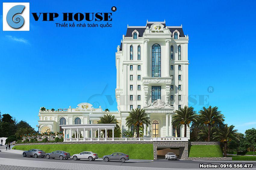 Công trình khách sạn 4 sao tân cổ điển được thiết kế với khuôn viên rộng cùng cảnh quan cây xanh bao quanh