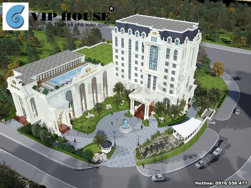 Phối cảnh tổng thể mẫu thiết kế khách sạn nhà hàng tiệc cưới phong cách tân cổ điển Pháp