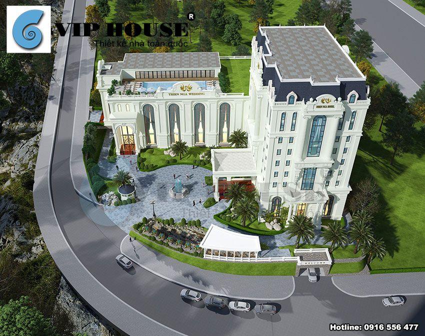 Kiến trúc mẫu thiết kế khách sạn 4 sao thể hiện vẻ đẹp tinh tế bằng những đường nét tân cổ điển xa hoa
