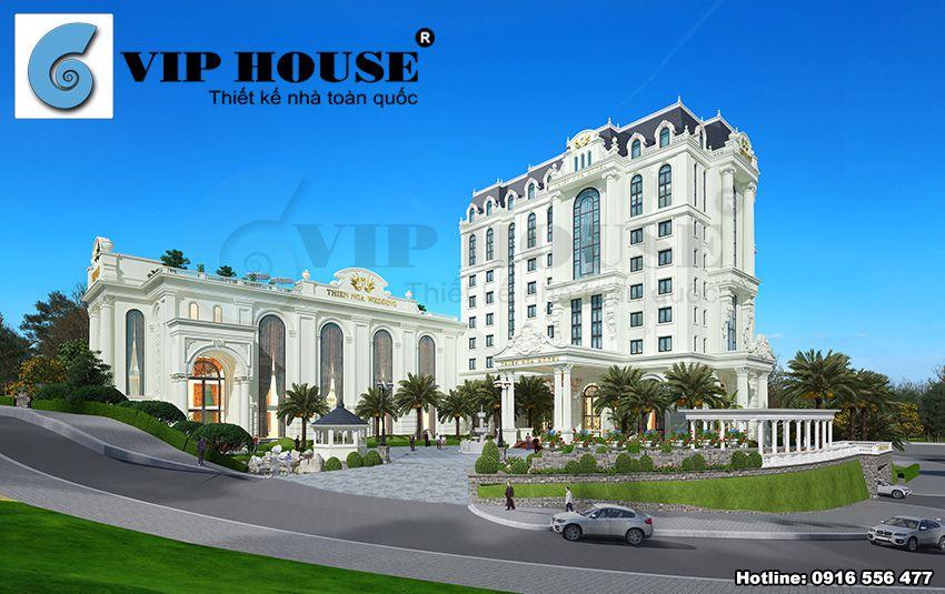 Vẻ đẹp kiến trúc tân cổ điển được thể hiện tinh tế xuyên suốt công trình khách sạn 4 sao đẹp như thiên đường