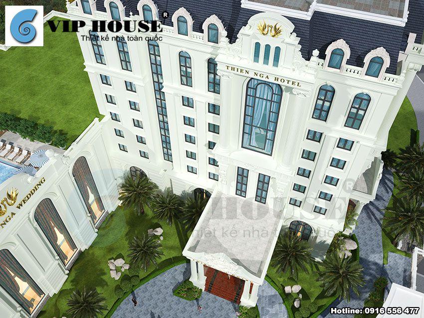 Mẫu thiết kế khách sạn kiêm nhà hàng tiệc cưới tiêu chuẩn 4 sao sang trọng và lộng lẫy cuốn hút người chiêm ngưỡng